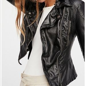 Free People Vegan Hooded Leather Jacket